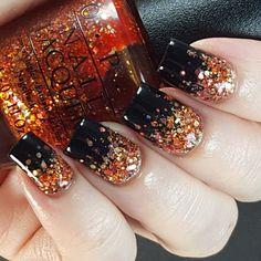 Halloween glitter gradient nail art.