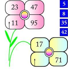 I due fiori sono costruiti con la stessa logica matematica.Due numeri a lato completano il fiore in basso.Quali? #enigmionline #enigmistica #rompicapi #rompicapi #albus