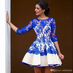 Royal Blue Lace Appliques Long Sleeve Short Homecoming Dresses 2016 New Crew Neck See Though With Back Graduations Cocktail Dresses Custom Cute Homecoming Dresses Cheap Girls Homecoming Dresses From Ourfreedom, $89.55| Dhgate.Com