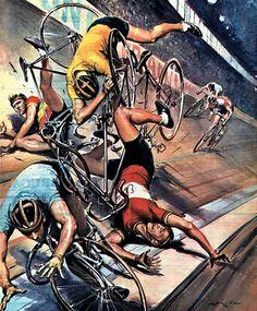 Molino, Walter (b,1915)- Bike Race Crash- 'La Domenica del Corrier'- Oct. 1956