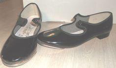 Danshuz Girls Size 1M Dance Tap Shoes Black Patent Leather Childrens #Danshuz