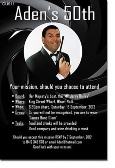 CU911 - James Bond Themed Birthday Invitation - Mens Birthday Invitations - Birthday Party Invitations - Invitations 2 Impress