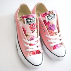 Pink pastel floral tongue converse