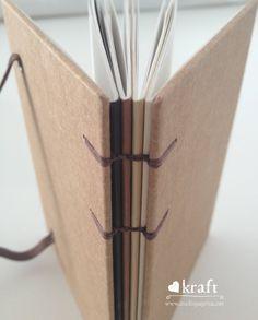 Coleção Love Kraft, caderno Terra, Pequeno, com folhas quadriculadas e costura aparente -  studio Páprica
