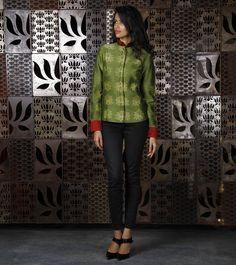 Olive Green Chanderi Silk Jacket with Shibori Dyed Motifs