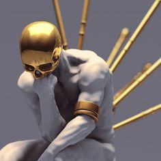 The reflection on the head has a soft light to dark edge. The body in uninteresting so the eye tries to figure out what the other pieces of gold are. Psy Art, Arte Horror, Dark Fantasy Art, Dope Art, Surreal Art, Skull Art, Aesthetic Art, Oeuvre D'art, Statues
