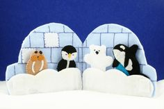 Igloo holder Polar bear, penguin, orca whale, and walrus finger puppets. $20.00, via Etsy.