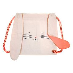 A luxury cotton canvas rucksack with cotton liner in the style of a cute bunny complete with floppy ears.The bag is embellished with stitched details and comes with stripey rope straps.Rucksack size: 12 x 12 inches. Backpack Bags, Drawstring Backpack, Bunny Bags, Embroidered Bag, Baby Kind, Kids Bags, Bucket Bag, Pouch, Bunny Rabbit