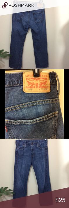 """Levis 569 Loose Straight Jeans Made Mexico 34 x 30 About This Item: Make this yours! Levi's 569 Loose Straight Jeans. Made in Mexico!  The Measurements:  Tag Size is 33x32 but actual measurements are 34x30 Waist: 34"""" Inseam: 30"""" Front Rise: 11"""" Legopening(ankle) 8""""  Condition:  Great pre-owned condition.No frays. See pics. Levi's Jeans Relaxed"""