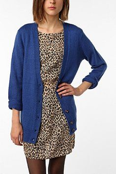 Sparkle and Fade Long Fuzzy Cardigan.. love the royal blue with small leopard print!!