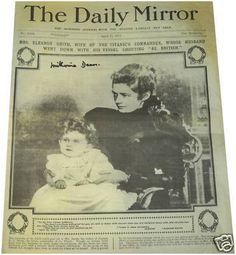 *ELEANOR SMITH ~ The only know picture of Captain Smith's widow+their daughter Mel, used on the front cover of the Daily Mirror April 22nd, 1912.