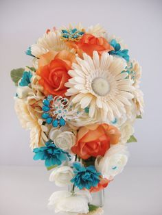 BROOCH BOUQUET Turquoise Coral Real Touch Peach by LizAnnFlorals, $225.00 ( this can give you some ideas on how to put together the colors, to make your own bouquet)