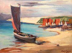 """Erich A. Klauck (Lettland 1900 - Hüde/Dümmersee 1977),   """"Kurenkahn am Strand von Nidden"""",   Öl/Hartfaser - Expressionist, tätig in Kurland, beeinflußt vom """"Brücke""""-Kreis"""