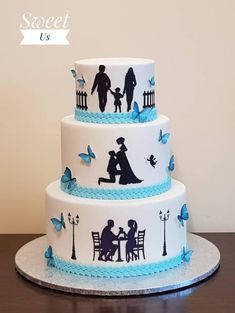 Wedding cake Best Picture For DIY Anniversary For Your Taste You are looking for something, and it is going to tell you exactly what you are looking for, and you didn't find that picture. Happy Anniversary Cakes, Wedding Anniversary Cakes, Anniversary Cake Pictures, Anniversary Dinner, Aniversary Cakes, Silhouette Cake, Amazing Wedding Cakes, Painted Cakes, Cake Decorating Techniques