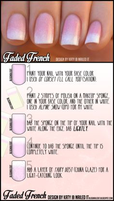 Fake the French mani with this easy sponged technique, designed for your special day, and brought to you in cooperation with Weddingstar Inc.