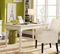 Comfortable Home Offices in Rustic Style with Excellent Furniture : Amazing Living Room Above White Desk There Are Two Pendant Lamps Like Hi...