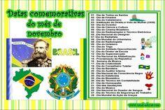 sugestões de datas comemorativas mês de agosto | ... canal-educar.blogspot.com.br : DATAS COMEMORATIVAS DO MÊS DE NOVEMBRO