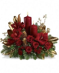 Candlelit Christmas      Luxurious red amaryllis and red roses are contrasted with fragrant noble fir and golden, glittering pinecones, magnolia leaves and berries.  Two red pillar candles make this an ideal centerpiece and holiday decoration.    https://www.4165flower.com/index.asp?pid=4=viewproduct=10338=1