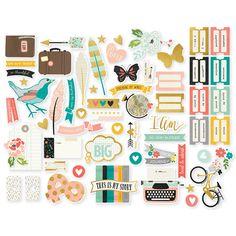 Simple Stories-Sol y la felicidad Colección-aglomerado Pegatinas