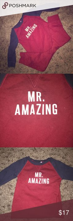 """""""Mr. Amazing"""" body suit Burgundy/Navy Blue body suit. With the words """"Mr. Amazing"""" across the chest for your little Mister Amazing. Carter's One Pieces Bodysuits"""
