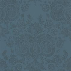 Irving Topaz - Linwood Wallpapers - A shimmering and decadent damask design printed with a gold metallic foil on a matte deep teal blue background. Other colourways available. Please request sample for true colour match.