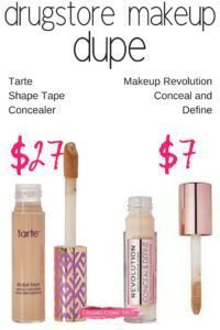 A drugstore makeup dupe for Tarte Shape Tape.  Both are great for covering dark circles, one is cheaper.  #drugstoremakeupdupe #bestconcealer #darkcircles