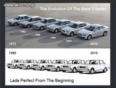 """BMW: """"Perfect from the beginning"""". They don't lack humor… Lada vs. BMW: """"Perfect from the beginning"""". They don't lack humor… Bmw Serie 5, Bmw 5 Series, Cars Series, Car Jokes, Car Humor, Car Pictures, Best Funny Pictures, Carros Suv, E60 Bmw"""