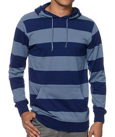 Bring some convenience to your clothing with the Blue Beats navy hooded pullover shirt from Zine. This shirt features a navy and blue striped colorway, a hood for extra protection from the elements and a front hand pocket all over a soft cotton-poly const
