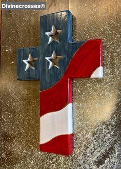 The original One Nation Under God Cross Patriotic Crafts, July Crafts, Patriotic Decorations, Cross Decorations, Patriotic Wreath, Holiday Crafts, Painted Wooden Crosses, Wood Crosses, Wooden American Flag
