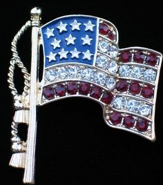 NIB NAPIER USA RED WHITE BLUE INDEPENDENCE MEMORIAL DAY JULY 4 FLAG PIN BROOCH  #NAPIER