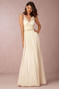 5 Ivory Bridesmaid Dresses That Will Pass for a Wedding Gown Boho Wedding Dress With Sleeves, Wedding Dresses Under 500, Bride Reception Dresses, Bhldn Wedding Dress, How To Dress For A Wedding, V Neck Wedding Dress, Stunning Wedding Dresses, Affordable Wedding Dresses, Wedding Dresses Photos
