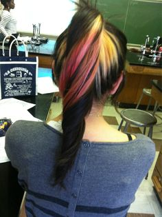 Pink black and blonde dyed hair #ponytail #ombre