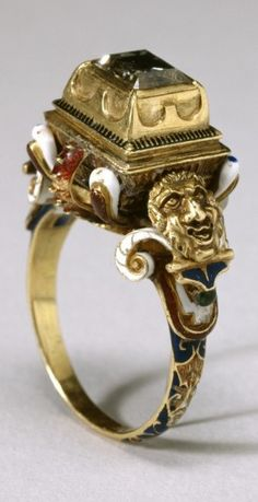 16th century gold, diamond and enamel ring.