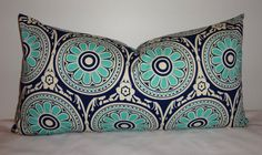 Aqua+Blue+&+Navy+Geometric+Floral+Print+Lumbar+by+HomeLiving,+$28.00 14.x 24