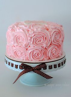 """Just Another Rosette Cake - 8"""" buttercream rosette swirls.  I'm glad i did the gumpaste plaque on top... easy and elegant way to personalize."""