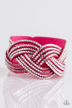 Big City Shimmer - Pink Bracelet - $5  Glassy white rhinestones are encrusted along crisscrossing strands of pink suede, creating bold shimmer around the wrist. Features an adjustable snap closure.  Sold as one individual bracelet.