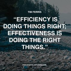 "Inspirational Quote: ""Efficiency is doing things right; Effectiveness is doing the right things."" Tim Ferris"