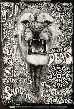 Poster; Event, 1968, Grateful Dead Concert, Fillmore West, 21 inch.   (my personal images are used in audio e-books for children 3-7 and Illustrative Poetry, available at www.jamesagrove.ca)