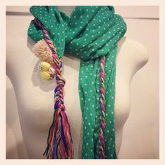 I SO want this Pom pom scarf from Frou Frou Designs