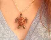 Vintage handpainted porcelain sea turtle necklace // teen jewelry // girl jewelry // gift for her // animal spirits