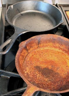 It's possible to restore the beautiful black sheen of neglected cast-iron cookware without using a self-cleaning oven.