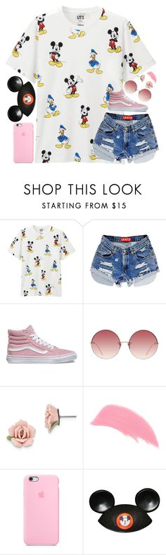"""""""Disneyland"""" by ibthal-hussain ❤ liked on Polyvore featuring Uniqlo, Vans, Linda Farrow, 1928, Stila and Disney"""