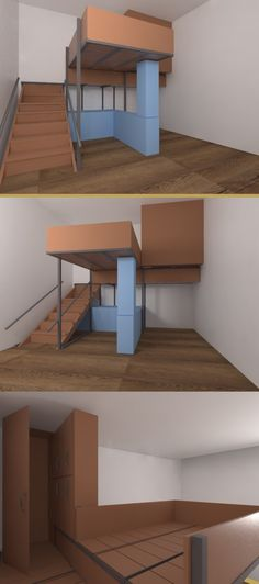 Loft idea 1 bed + gardrobe Tiny House Layout, House Layouts, Lofts, Small Space Living, Small Spaces, Tiny Cabins, Loft Room, Bedroom Layouts, Child Room
