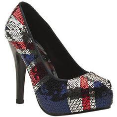 Iron Fist 'jacked up' heels.    http://www.schuh.co.uk/iron-fist/womens-navy-and-red-iron-fist-jacked-up-pf-union-jack/1156214360
