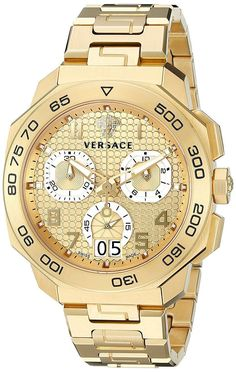 Versace Mens DYLOS CHRONO Analog Display Swiss Quartz Gold Watch NWT