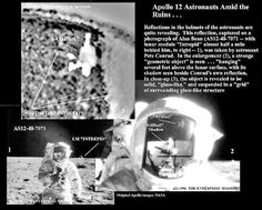 "Apollo 12 Helmet Reflection Shows Alien Artifact ~ Former NASA scientists and engineers announce analysis of 30 year old 'SUPPRESSED EVIDENCE' of ANCIENT ARTIFICIAL STRUCTURES on the MOON. These photos show astronauts walking amid apparent lunar ruins. Researchers are asking to open NASA files and suggest a DELIBERATE Superpower COVERUP based on OFFICIAL GOVERNMENT REPORT which warned ""CIVILIZATION COULD COLLAPSE"""
