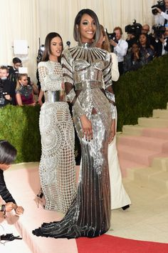 """The Fashion-Tech Looks From Tonight's Met Gala  #refinery29  http://www.refinery29.com/2016/05/109782/best-dressed-met-gala-2016#slide-38  Jourdan DunnNo one is disputing the fact that Balmain is the king of """"future"""" silver dresses. Jourdan Dunn's version mixes 1920s art deco with 2020s paneling...."""