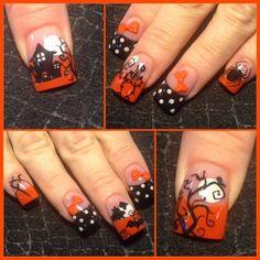 Halloween and polka dots - Nail Art Gallery