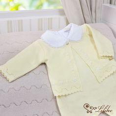 Conjunto Saída de Maternidade Rococó Barra Rendada Amarelo
