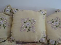 Ribbon Embroidered Cushion Covers - Set of 4